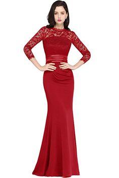 Shoppen Sie MisShow Damen Langes ballkleid Ballkleid Lang Abschlusskleid  Festkleider Rot 42 auf Amazon.de fafc1fca6b