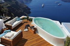 Santorini Grèce piscine pool mer sea