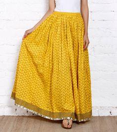 Yellow Bird Printed Crushed Cotton Skirt