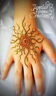 sun with glitter henna www.jamilahhennacreations.com