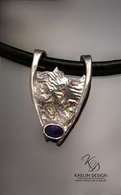 'Mountain Pass' Amethyst and Reticulated Silver pendant by Kaelin Design - jewelry, ethnic, minimalist, crystal, geometric, amrapali jewellery *ad