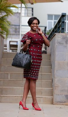 DUCHESS DRESS * Straight pencil fitted midi dress with fluttered sleeve * With round neckline and a long zipper closure at the back and a back slit/opening. The fit snugs and very flattering. * Color: Burgundy, Black & Off White cotton wax * Dimension: African Inspired Fashion, African Print Fashion, Fashion Prints, Fashion Design, African Print Dresses, African Fashion Dresses, African Dress, African Outfits, African Prints