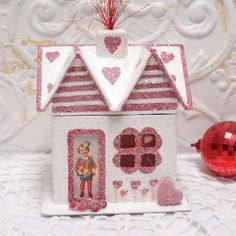 Small Valentines House Lighted Decoration Red White Sparkle 7 Inch OOAK