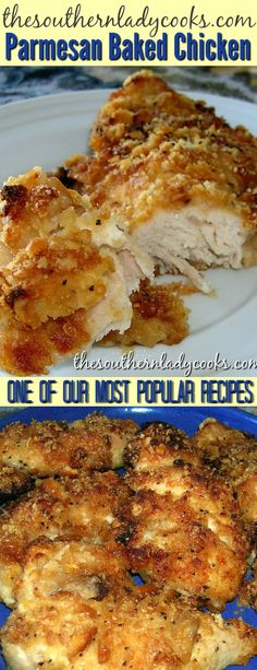 Ritzy parmesan baked chicken is one of our most popular recipes and gets great reviews. Easy to make and delicious. #weeknightmeals #chicken #poultry #maindishes #parmesan #baked #ovenbaked #ritzcrackers #delicious