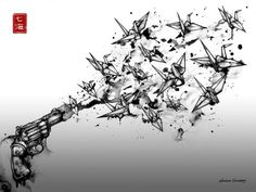 gun firing origami cranes by nanami cowdroy