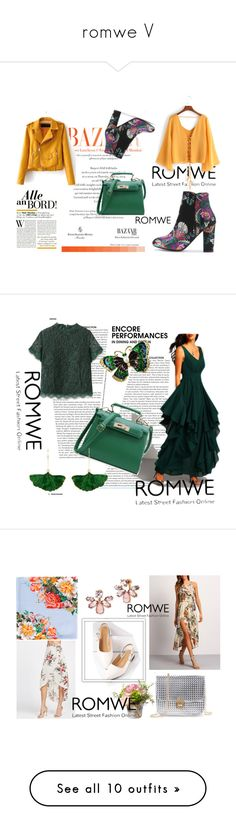 """""""romwe V"""" by obsessedwithnicestuff ❤ liked on Polyvore featuring romwe, romwefashion, loveromwe, fashioncombination, Aurélie Bidermann, Marchesa, National Tree Company, Gucci, Urban Decay and Topshop"""