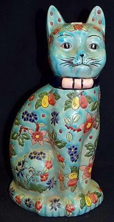 """Синий цветочный кот. Перевод марки - украшенных от руки Emauxde Лонги Франции 14 """"H."""