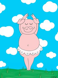 Dancer pig Art Print