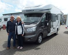Tim & Jackie are pictured taking delivery of their very first Motorhome, the all new Chausson 530 Welcome Premium. They took their `Leap Of Faith` back in February at the NEC Birmingham Motorhome Show, and are thrilled now to be taking delivery and hugely excited at the prospect of motor-homing all over the UK and beyond.  Happy travels Tim & Jackie from Shane and his colleagues at T C `s. Fiat, Motorhome, Welcome, Birmingham, Recreational Vehicles, The Twenties, February, It Is Finished, Delivery