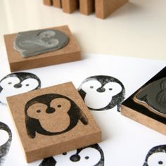 Make an adorable penguin stamp