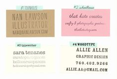 The four style options for Paper Pastries's custom business stamps. #reuse