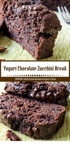 Yogurt Chocolate Zucchini Bread - Food And Beverage Recipes Bread Machine Recipes, Easy Bread Recipes, Cake Recipes, Dessert Recipes, Pudding Recipes, Vegan Recipes, Just Desserts, Delicious Desserts, Yummy Food