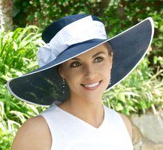 Chapeau à large bord, chapeau mariage, chapeau de paille bleu marine femmes, marine et blanc bonnet, chapeau melon, course chapeau, chapeau de Lavallière, chapeau de l'église, élégant chapeau formelle