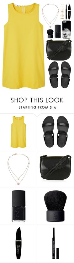 """""""yellow dress"""" by by-jwp ❤ liked on Polyvore featuring MANGO, FitFlop, Michael Kors, Topshop, NARS Cosmetics, Max Factor, Christian Dior and Forever 21"""