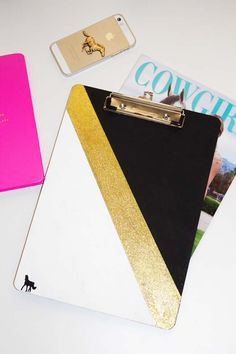 DIY Clip Board - paint, glitter and a sticker dresses up this plain board.