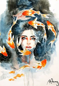 Watercolor Art Face, Watercolor Illustration, Watercolor Paintings, Art Drawings Sketches, Cute Drawings, Surealism Art, Fish Art, Portrait Art, Art Inspo