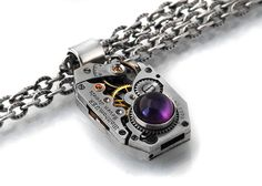 """For the coolest steampunk jewelry EVER check out Janne Perry's Shop """"ClosetGothic"""" on etsy. She designs each piece and is super nice...if you have a design in mind she can help you create it! Tell her Rob sent you!! Steampunk Necklace, African Amethyst & Vintage Waltham Watch Movement - Long Chain Necklace. $89.00, via Etsy."""