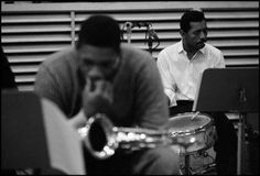 John Coltrane and Philly Joe Jones at a recording session for Columbia records, NYC, 1958 by Dennis Stock