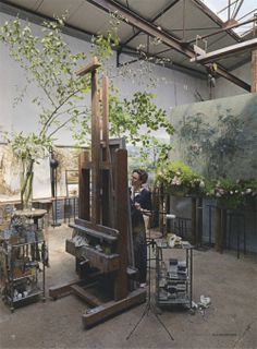 Claire Basler in her studio - this space is amazing! (as is her work, paintings and ceramics.)