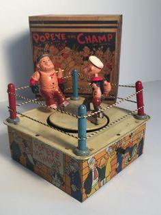 MARX Popeye the Champ w/ original box wind up tin toy Metal Toys, Tin Toys, Vintage Tins, Vintage Games, Disney Toys, Childhood Toys, Classic Toys, Antique Toys, Toy Boxes