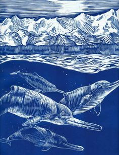 Alexandra Boersma - Reconstruction of a pod of Arktocara yakataga, swimming offshore of Alaska during the Oligocene, about 25 million years ago, with early mountains of Southeast Alaska in the background.