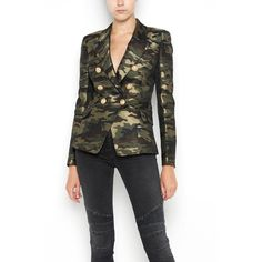 BALMAIN Camouflage Printed  Six Buttons Tailleur Jacket (€2.195) ❤ liked on Polyvore featuring outerwear, jackets, multi coloured jacket, multi-color leather jackets, balmain jacket, balmain and multi colored jacket