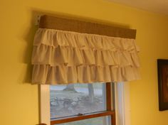 Burlap valance with muslin tiers. Valance measures We can make what ever size you like. Fancy Curtains, Curtains With Blinds, Valance Curtains, Valances, Curtain World, Burlap Window Treatments, Burlap Valance, Burlap Crafts, Beautiful Curtains