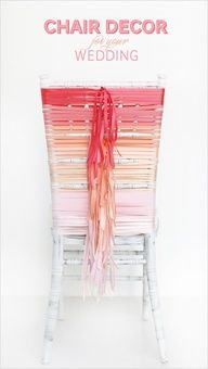 Gorgeous Ombre DIY chair covers with ribbon!