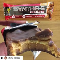 #Repost @iifym_fitness_ with @repostapp  Mid morning snack today  @bsnsupplements Syntha-6 edge salted caramel protein bar from @tnutrition  On opening nice chocolate coating with visible nuts on top of the bar.  Really fudgey like texture with a nice caramel layer and the nuts add another dimension.  Taste wise these are really good. Nice salted caramel flavour my only complaint is they are really chewy to the point I found it difficult to swallow. They've nailed it with the flavour just…