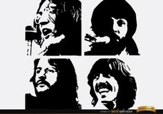 black and white painting of george harrison - Google Search
