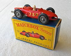 Vintage 1962 Matchbox Lesney Regular #73 FERRARI F1 RACING CAR; Excellent - http://www.matchbox-lesney.com/23540