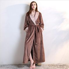 3281bee493 Kuiduo Women Thickened Bathrobe Flannel Velvet Solid Color Collar Bathrobe  Robe Nightgown Towelling (Color   Coffee