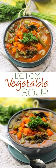 Detox Vegetable Soup - Need to detox from a day of sweets or a night of drinking? Try getting that fresh start from this nutrient packed Detox Vegetable Soup recipe. With eight different types of vegetables, you are sure to get the detox you're craving. Detox Vegetable Soup, Vegetable Soup Recipes, Healthy Soup Recipes, Vegetarian Recipes, Cooking Recipes, Veggie Soup, Cleanse Recipes, Vegetarian Vegetable Soup, Skinny Vegetable Soup