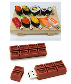 Sushi flash drives! and YUMMY Chocolate Flash Drives. I am sure I need these!