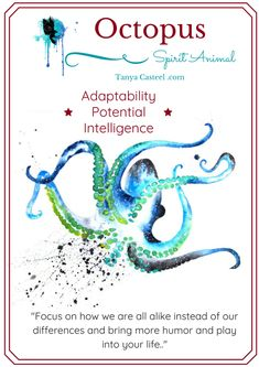 Octopus spirit animal symbolism, meaning, and watercolor paintings by Tanya Casteel Spirit Animal Totem, Animal Spirit Guides, Animal Totems, Spirit Animal Tattoo, Animal Meanings, Animal Symbolism, Symbols And Meanings, Spiritual Meaning, Spiritual Path
