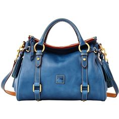 Dooney & Bourke Small Satchel ($276) ❤ liked on Polyvore featuring bags, handbags, purses, bolsas, сумки, ocean blue, dooney bourke purses, handle satchel, man satchel bag and satchel purse