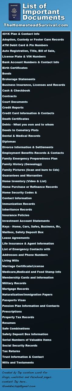 List of Important Documents - Emergency Preparedness - SHTF - Natural Disaster - Homesteading - Homestead Survival Hurricane Preparedness, Disaster Preparedness, Survival Prepping, Survival Skills, Homestead Survival, Survival Hacks, Survival Blog, Survival Equipment, Survival Quotes