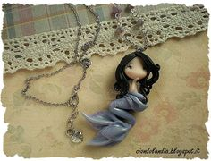 Mermaid princess doll necklace Polymer clay