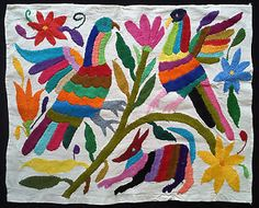 GORGEOUS EMBROIDERY FROM PUEBLA MEXICO. OTOMI FABRIC. MEXICAN FOLK ART