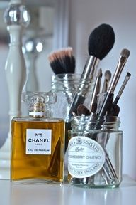 Reuse old jars for makeup brushes. I already do this with baby food jars or mason jars, but pretty jars is a good idea!