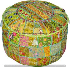 "22"" Indian Handmade Patchwork Ottoman Cotton Pouf Cover Throw Floor Pouffe Cover"