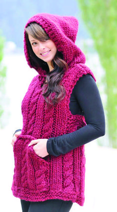 Free Knitting Pattern for Hooded Magnum Vest - Cabled pullover vest with hood is a quick knit in super bulky yarn. Designed by Susie Bonell for Cascade Yarns