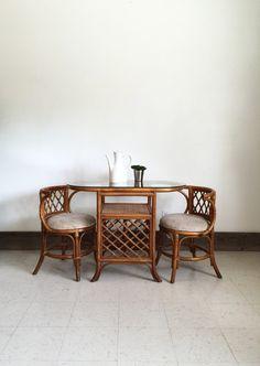 Mid Century Rattan Furniture / Rattan Dining Set / Rattan Dinette /  Bohemian Boho Furniture /