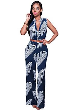 73ebd42011d8 Women Navy White Sexy V Neck High Waist Print Button Front Belted Wide Leg  Jumpsuit Formal