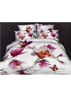 New Arrival 100% Cotton Butterfly Loving Gorgeous Flowers Reactive Print 4 Piece Bedding Sets /Duvet Cover Sets