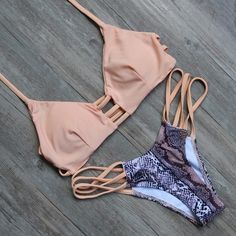 Lila Peach Snakeskin Cut-Out Bikini ($37) ❤ liked on Polyvore featuring swimwear, bikinis, cutout swimwear, cut-out swimwear, snakeskin bikinis, bikini swim wear and cut out bikini swimwear