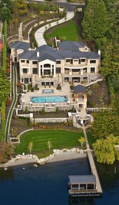 Reminds me of the Grey Family Mansion (Carrick's and Grace's), where Christian takes Anna down to the boat house - Mercer Island Mega-Mansion Finally Sells For $13.2 Million - Curbed Seattle