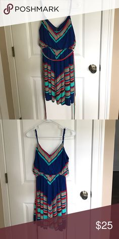Cute colorful straps dress Forever21 only worn once! This dress is super comfortable and cute for the summer and beach!! Forever 21 Dresses Mini