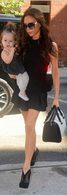 Victoria Beckham: Dress and purse - Victoria Beckham Collection shoes - Azzedine Alaia Azzedine Alaia Built in platform shoe boots Victoria Beckham Open back dress Same bag in black Victoria Beckham Victoria Mini leather tote