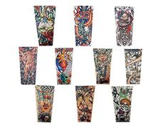 """Efivs Arts Xt Series Classic Temporary Fake Tattoo Arm Sleeves Leg Stockings Accessories for Men Women 10 Pcs (set A). Material: 90% nylon 10% spandex. More comfortable and looks real & seamless; easy slip on & off. D series refer to B00JEDZHG6. Tiled Dimensions:(4.53 x 2.95)"""" Base * 18"""" H. Unisex and this series is litter large, better for the men with strong arms."""